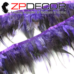 Wholesale ZPDECOR Hot Selling inch Best Quality Dyed Purple and Black Rooster Chicken Saddle Feathers Trim for Clothes Design