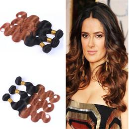 Brazilian 9A Ombre 1B 30 Hair Bundles 3 Pcs Lot Two Tone Hair Weaves Ombre Body Wave Hair Extension For Black Woman