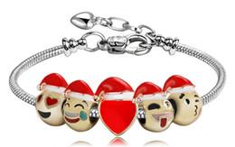 Wholesale 2017 Newest Fashion Christmas Jewelry Gift Beads Metal Emoji Beads DIY Charms Bracelet Gold Expression Bangle Enamel Emoji Faces Bracelet