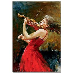 Wholesale MASTER Artist High Quality Hand Painted Oil Paintings elegant violin girl musical art picture decorative wall Painting On Canvas