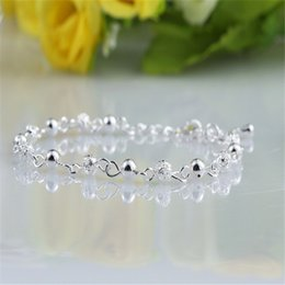 Free shipping Strand Beads Pulseras 925 Sterling Silver Bracelet Wholesale 10PCS New jewelry