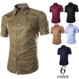 2016 European and American double pocket shirt short sleeve shirt men Casual short sleeve shirt man M--2XL
