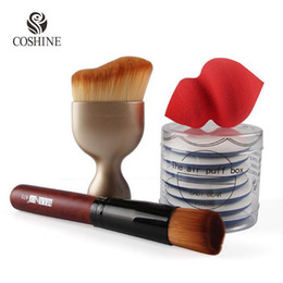Wholesale Coshine Oval Contouring Kabuki Makeup Brush Flat Foundation Brush BB Cream Cushion Air Puff Flawless Blender Sponge set