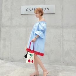 Korean word loose shoulder Strapless tassel horn sleeve dress sweet folk style doll summer skirt