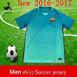 Wholesale messi away blue adult jerseys Soccer Jersey kits BArcelonaes Football Shirt Lionel Messi camisas La Liga Maillot Suarez DHL