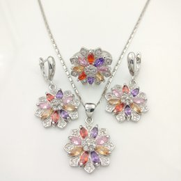Wholesale Silver Multi Gem Necklace - Multi color Gems Flower Style Topaz Jewelry Sets For Women Silver Drop Earrings Necklace Pendant Rings Free Jewelry Box B
