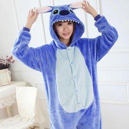 Wholesale lilo and stitch onesie Unisex onesies for lovers warm fleece pajamas for women pajama set warm animal pajamas one piece femme