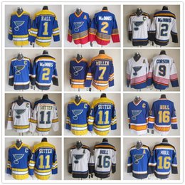 Wholesale NHL Ice Hockey St Louis Blues Jerseys CCM Vintage Throwback Glenn Hall Al MacInnis Joe Mullen Shayne Corson Brian Sutter Brett Hull White