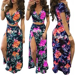 2017 summer new sexy Split Deep V Neck woman Casual Dresses fresh colour printing Bohemian style two piece set short sleeve Long dress