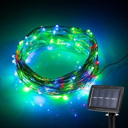 Wholesale 150 LED meter LED Solar Powered String Light Modes Steady on Flash Starry Silver Copper Wire Light Solar Fairy String Light