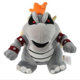 25cm Super Mario Gray King Bowser Koopa Stuffed Plush Toys With Tag Retail Free Shipping