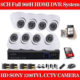 CIA- Cúpula Blanca SONY CCD 1200TVL Cámara 8ch CCTV Sistema 8CH 960H CCTV DVR Kit Sistema de Cámaras de Seguridad P2P 1080P Salida HDMI 1 TB HDD desde sistema de seguridad de la bóveda del ccd fabricantes