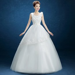 Wholesale 2016 New Fluffy Skirt And Short Sleeved Shoulder Straps A Sequined Lace Applique Slim Sweet Temperament Simple Wedding Dress B