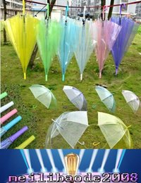 Wholesale Transparent Clear EVC Umbrella Fashion Dance Performance Long Handle Umbrellas Beach Wedding Colorful Umbrella clear umbrellas MYY