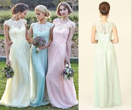 Cheap Lace Bridesmaid Dresses 2017 Cap Sleeve A Line Floor Length Summer Pink Yellow Mint Beach Wedding Guest Dresses Maid Of Honor Gowns