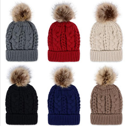 Wholesale Winter Brand New Colorful Snow Caps Wool Knitted Beanie Hat With Artificial Raccoon Fur Pom Poms For Women Men Hip Hop Skull Cap b277