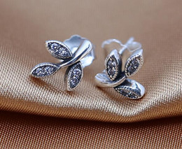 Stud Earrings 100% 925 sterling Silver earrings Sparkling leaves, clear cz fitS for pandora charms jewelry DIY women charms wholesale