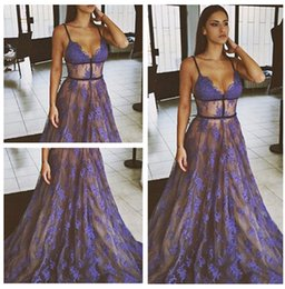 Wholesale Spaghetti A Line Full Lace Evening Dresses Robe Sexy Sleeveless Sheer Sweep Train Formal Prom Gowns Pageant Dresses