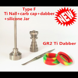 Wholesale best price in GR2 Domeless Titanium Nail Carb Cap E nail With Titanium Dabber And Silicone Jar of set