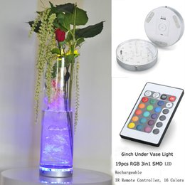 10pcs lot 6inch Base Light LED Base Light with 19 Super Bright Multicolors Led Vase Illuminator for Wedding Decoration