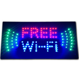 Wholesale 20PCS x10 x0 LED OPEN Animated LED advertising Free Wi Fi internet cafe LED store Sign WIFI shop Open hotspot Wireless phone