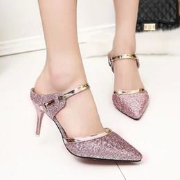 Boda de la sandalia del tacón alto cm en Línea-2016 rosa magnífico brillo de plata del club nocturno de noche sandalias de 8 cm de los altos talones de lentejuelas punta estrecha bombea los zapatos de la mujer novia de la boda