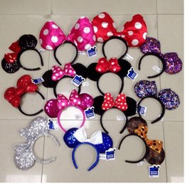 Wholesale Minnie mickey ear cartoon cute Headwear Bow women Hair bands minnie mouse ears headband for girls lady