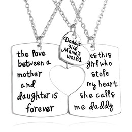 Family Members Necklace Set Daddy Mother Daughter Heart-Shaped Zinc Alloy Necklace 3pcs Set Free Shipping