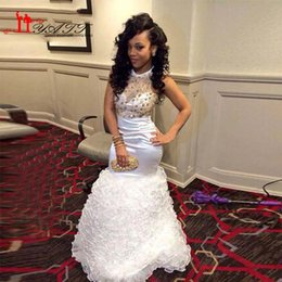 Fashion White and Gold African Prom Dresses 2016 Mermaid Long Evening Dress O-Neck Beaded Open Back Ruffles Organza Formal Party Gowns