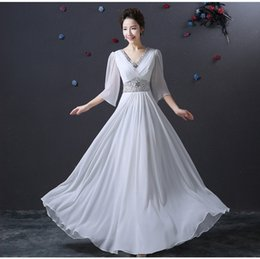 Wholesale Silk Chiffon Floor Length Bridesmaid - Christmas Chiffon Cheap Evening Gowns A-line Sexy V Neck Beaded Long sleeve Bridesmaid Dresses Cocktail Party Dresses
