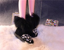 Free shipping The new 2017bootsWinter new arrival fox fur low cowhide handmade rhinestone boots slender legs artifact