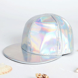 Wholesale Laser Smooth Leather Punk Rock Solid Baseball Cap Hat For Women And Men Golden Silver Hip Hop Flat Hats Outdoors Snapback Caps
