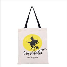 Acheter en ligne Araignées noires-Halloween à la main des sacs sac de toile de coton transport noir poignée des sacs Citrouille Hallowmas diable d'araignée cadeaux Sack bonbons enfants épaule Sac