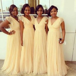 Yellow Cheap Bridesmaid Dresses 2016 Sexy V Neck Capped Sleeves Plus Size Wedding Guest Gowns Tulle Floor Length Simple Bridesmaids Dress