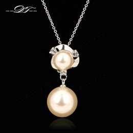 Classic OL Style Imitation Pearl Beads Necklaces & Pendants Fashion Brand CZ Diamond Vintage Jewelry For Women Chains Accessiories DFN107