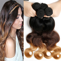 Brazilian 9A Ombre Hair Bundles #1b 4 27 Honey Blonde Human Hair 3Pcs Three Tone Body Wave Hair Weaves Dark Root