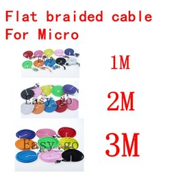 1m 2m 3m noodle Braided Micro USB Date Sync Charging Cable for Samsung Galaxy S4 I9500 HTC LG Sony