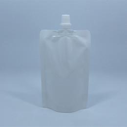 Wholesale Spout Pouch Wholesale - 8*12cm 100ml 100Pcs  Lot White Empty Doypack Spout Pack Bag Drinking Storage Stand Up Spout PE Plastic Pouch Jelly Juice Pocket