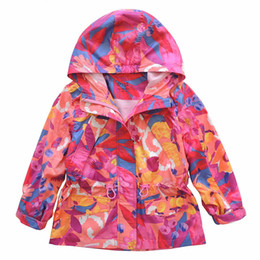 Wholesale 2016 autumn new brand fashion girls jacket hooded kids trench coats camouflage print waterproof girls outerwear Y
