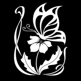15*20.3CM Butterfly On Flower Graphic Decal Car Window Sticker Automotive Body Glass Decorative Decals Silver Black C4-0263