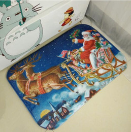 Wholesale Christmas Doormat Non Slip Rectangular carpets cm Xmas Santa Snowman Design Bathroom Kitchen Rugs Mat Cartoon Mat