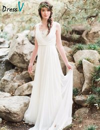 Wholesale Out Door Elegant White Chiffon Beach Wedding Dress Spring Summer Sheath Sweetheart Empire Backless Sweep Train Bridal Gowns