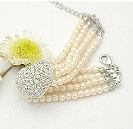 wholesales!fashion jewelry bracelet bangle specialized rhinestone heart imitate pearl necklace for dogs cat pet collar 10pcs lot,white pink