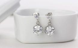 2016 Korean version twins flowers CZ diamond stud earrings 925 sterling silver jewelry earrings fashion earrings wholesale