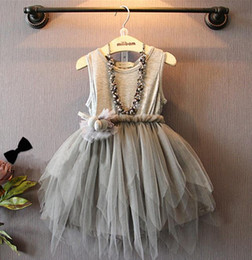 Fashion baby girl summer asymmetrical lace cotton dresses toddler kids round neck ruffle pleated party ball gown dresses gray 2T-6T