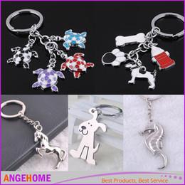 Wholesale Dog Cat Tortoise Horse Hippocampus Keychain Keyring Fashion Metal Animals Key Chain Set Charm Pendant Trinket Gift
