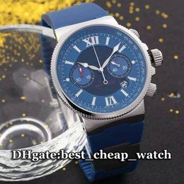 Wholesale Brand Watch Ulysse Watch Maxi Marine Diver Mens Watch Blue Dial With Rubber Strap Quartz Chronograph Gent Cheap Best Watches
