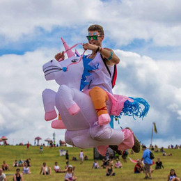 Wholesale HOT Adult Halloween Costumes Inflatable Unicorn mascot Costumes Ride on Sky Horse Air Blowing Up Clothes Funny Costumes