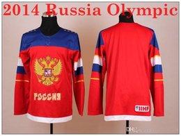2014 Rusia Jerseys Olímpicos de Hockey Nueva Rusa de Equipo Nacional de Hockey Rojo Jersey Blank Calidad Superior Descuento Marca Olímpico Jersey desde maillot olímpico rusia fabricantes