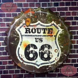 Wholesale Shabby chic round Signs plaques US Route Beer Cap Vintage Tin Sign Bar pub home Wall Decor Retro Art Poster cm RD